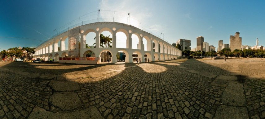 Panorama 180º dos Arcos da Lapa com o piso antigo. 2011