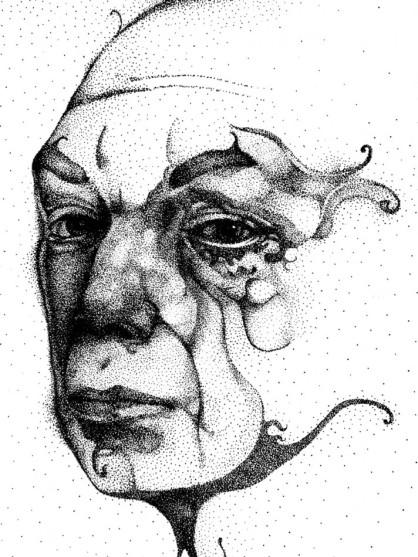 Um palhaço desiludido, pontilisimo com caneta nanquim sobre papel Torchon.