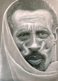 Velho Etíope, lápis de cor sobre papel Canson.